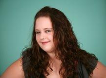 Headshot van vrij te zwaar meisje Stock Foto's