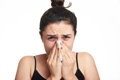 Headshot of woman with flu Royalty Free Stock Image