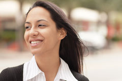 Headshot of a woman smiling royalty free stock photos