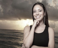 Headshot of a woman and a sunrise Royalty Free Stock Photo