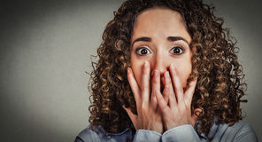 Headshot worried scared young woman Royalty Free Stock Photo