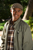 Headshot of Young African American male. Headshot of African American male standing outside Royalty Free Stock Image