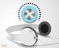 Headsphones e controler do volume Imagem de Stock Royalty Free