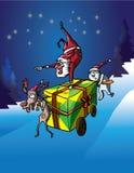 Headstand de Santa Claus en entrega del regalo Imagen de archivo libre de regalías
