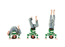 Headstand neemt drie Royalty-vrije Stock Foto