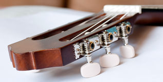Headstock of classical guitar close up Stock Images