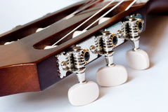 Headstock of classical guitar close up stock image
