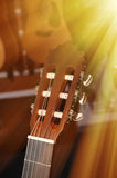 Headstock of classical guitar Stock Images