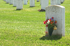 Headstone. Blank Headstone in military cemetery royalty free stock image