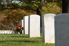 Headstone and bouquet with evening sunlight in autumn at Arlington National Cemetery royalty free stock image