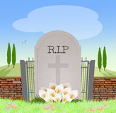Headstone in the cemetery. Illustration of headstone in the cemetery Royalty Free Stock Photography
