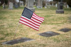 Headstone with Flag stock photos
