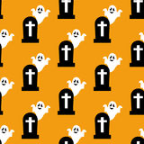 Headstone and ghost pattern. On the yellow background. Vector illustration Royalty Free Stock Image