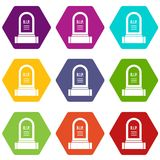 Headstone icon set color hexahedron. Headstone icon set many color hexahedron isolated on white vector illustration Royalty Free Stock Image