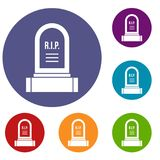 Headstone icons set. In flat circle reb, blue and green color for web Royalty Free Stock Images