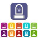 Headstone icons set. Vector illustration in flat style in colors red, blue, green, and other Stock Photos