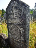 Headstone on the jewish cemetery in Brody, Ukraine. Headstone with the ship. Ship symbolizes the journey, which soul after death commits. Photo:2012 Royalty Free Stock Image