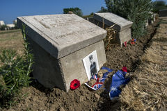 The headstone of 2251 Lance Cpl J.A.E. Harris, 2nd BN Australian Inf at Lone Pine Cemetery, Gallipoli, Turkey. Stock Photography