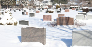 Headstone monuments in cemetery Royalty Free Stock Photography