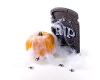 Headstone, Pumpkin, Spider, web. Halloween Still life white high key set-up with RIP Cemetery Headstone, Orange Pumpkin, Spider Web and Spiders Royalty Free Stock Images