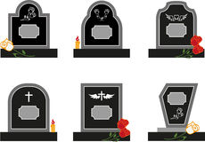 Headstone. Set of black headstones with flowers Stock Images