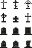 Headstone. Set of black headstone silhouettes Stock Photo