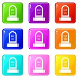 Headstone set 9. Headstone icons of 9 color set isolated vector illustration Stock Image