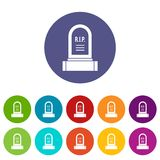 Headstone set icons. In different colors isolated on white background Royalty Free Stock Photography