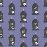 Headstone and skull pattern. On the purple background. Vector illustration Royalty Free Stock Images