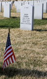 Headstone of soldier at Abraham Lincoln National Cemetery. Abraham Lincoln National Cemetery, located 50 miles south of Chicago in Elwood, IL, is a national Royalty Free Stock Photo