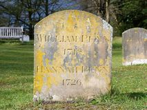 The headstone of William Penn, founder of the Province of Pennsylvania and his wife Hannah located at Jordans, Buckinghamshire stock photos