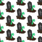 Headstone and zombie hand pattern. On the white background. Vector illustration Royalty Free Stock Photo