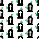 Headstone and zombie pattern. On the white background. Vector illustration Royalty Free Stock Photo