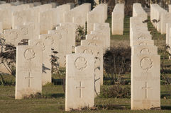 Headstones in Cassino War Cemetery. Cassino War Cemetery is a military cemetery in Cassino (Italy) resting place of the fallen soldiers of the Commonwealth stock photo