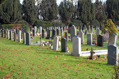 Headstones in a cemetery in the sunshine. Royalty Free Stock Image