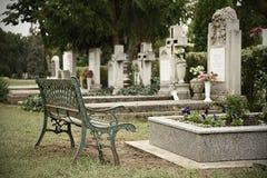 Headstones in cemetery Stock Photo