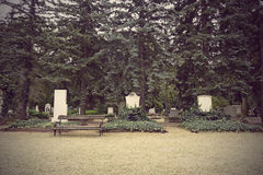 Headstones in cemetery Royalty Free Stock Image