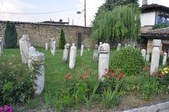 Headstones in Dervish Monastery. Headstones in Arabati Baba Tekḱe, a dervish monastery in Tetovo Macedonia royalty free stock images
