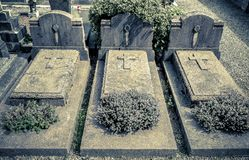 The Headstones and Graves of catholic Cemetery.  stock photography