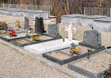 The Headstones and Graves of Cemetery.  stock photo