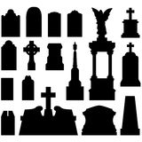 Headstones and gravestones in vector. Vector silhouette set of gravestones and headstones that can be textured or engraved as design elements Stock Photos