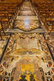 Headstones marble slabs and floor. In St John's Co-Cathedral in Valletta in Malta stock image
