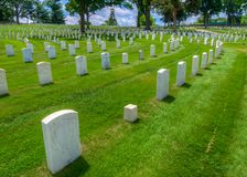 Headstones at Marietta National Cemetery, Marietta, GA. stock image