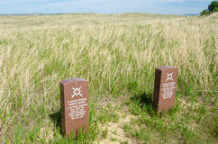 Headstones mark location of Cheyenne warriors. Headstones in the Little Bighorn Battlefield mark the site where two Cheyenne warriors were killed on June 25 Stock Photo