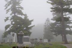 Headstones in the Mist Stock Photo