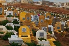 Headstones in Muslim Cemetery. Rabat, Morocco - Dec 16: Headstones and inscriptions in traditional Muslim cemetery, December 16, 2009 Rabat, Morocco stock image