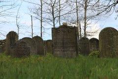 Headstones na Żydowskim cmentarzu w OlÅ ¡ jakaś blisko JindÅ™ichuv Hradec Fotografia Stock