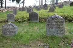 Headstones na Żydowskim cmentarzu w OlÅ ¡ jakaś blisko JindÅ™ichuv Hradec Fotografia Royalty Free