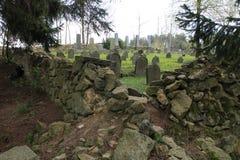 Headstones na Żydowskim cmentarzu w OlÅ ¡ jakaś blisko JindÅ™ichuv Hradec Obrazy Royalty Free