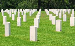 Headstones in a National Cemetery Royalty Free Stock Images